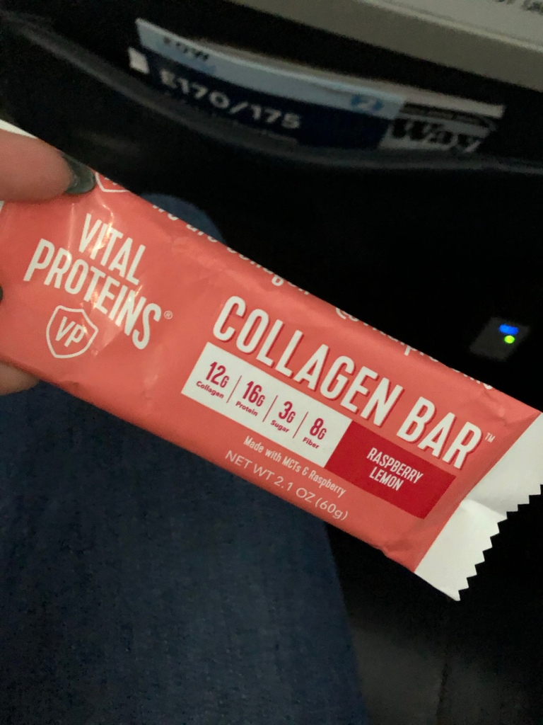A Vital Proteins collagen snack bar, raspberry lemon flavor.